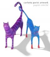<h5>Coppia di gatti di carta</h5><p>Sculture 2011.</p>