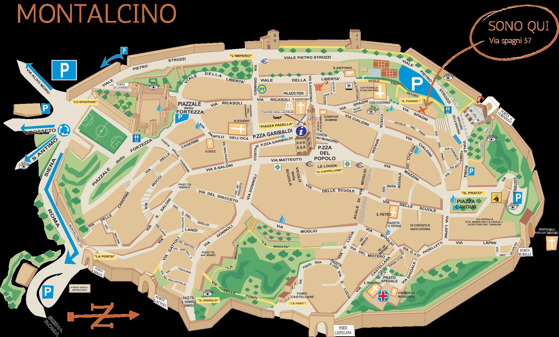 Cartina di Montalcino - Carlotta Parisi in Via Spagni 57 (Contatti)
